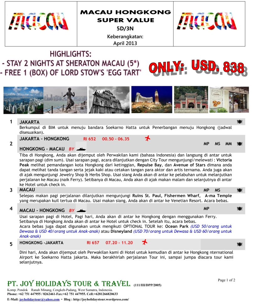 Consortium Package Hong Kong Macau April 2014-1